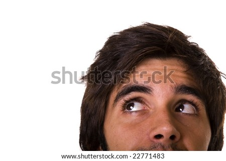 young man face looking to the copy space (isolated in white) - stock photo