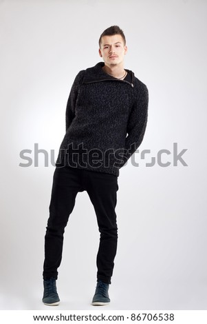young man full body in the studio - stock photo