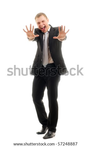 Young man gesturing stop - stock photo