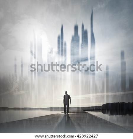 Young man goes on the pier to the ghost town, conceptual collage photo - stock photo
