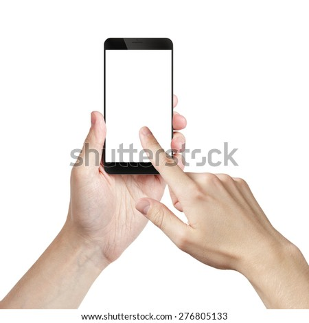 young man hand holding smarphone with white screen, isolated - stock photo
