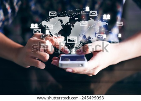 young man hand holding smart phone show the social network, social media concept  - stock photo