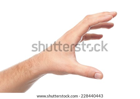 Young man hand over white background. Grabbing something - stock photo
