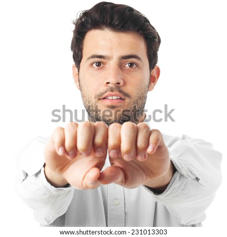 young man hands to front on a white background - stock photo