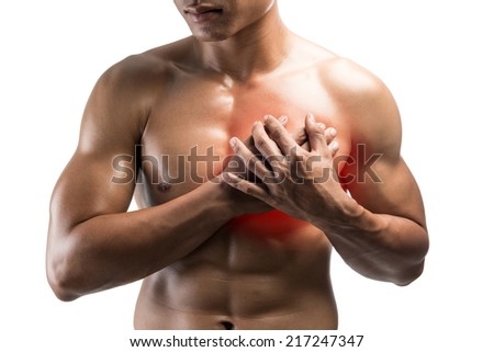 Young man having heart attack ,Young man suffering from chest pain,isolated on white background with clipping path - stock photo