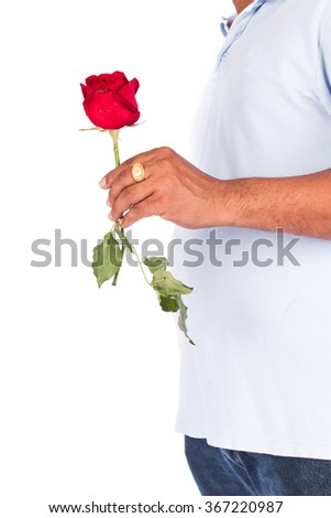 young man hold rose flower for surprise his wife - stock photo