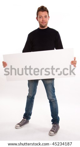 Young Man holding a horizontal message board - stock photo