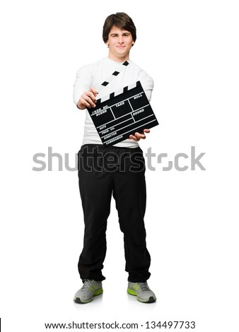 Young Man Holding Clapper Board Isolated On White Background - stock photo