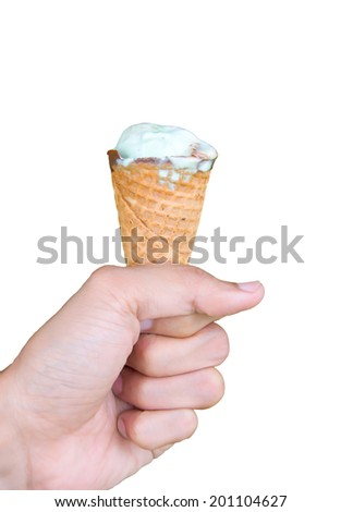 Young man holding ice cream, isolated on white background. - stock photo