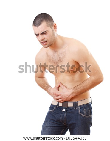 Young man holding painful stomach isolated on white background - stock photo