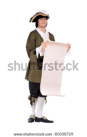 Young man in a historical costume read the decree. Isolated - stock photo