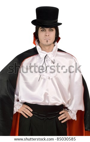 Young man in a suit of Count Dracula - stock photo