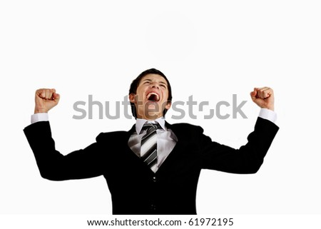 young man in a suit shouting out loudly - stock photo