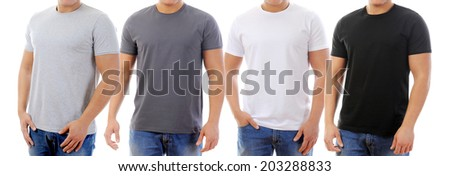 young man in a T-shirt. isolated on white background - stock photo
