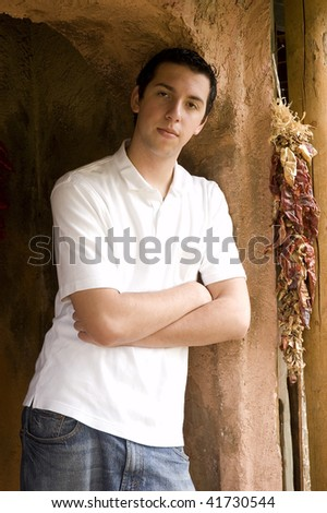 Young Man In Archway - stock photo