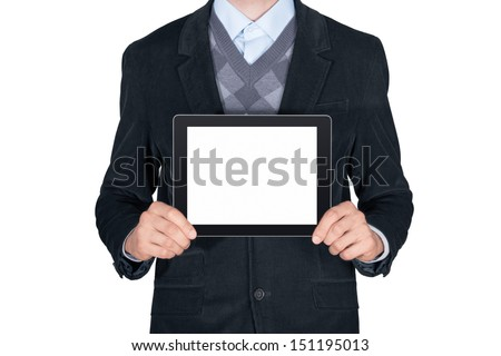 Young man in black suit showing modern digital tablet with blank screen. Isolated on white background - stock photo