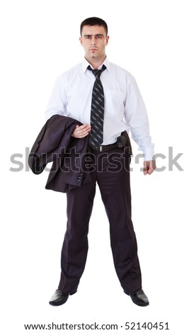 young man in black suit with gun on belt - stock photo