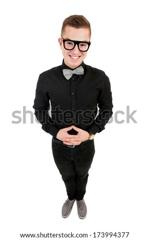 Young man in bow tie portrait - stock photo