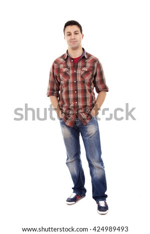 Young man in casual clothes posing over white background - stock photo