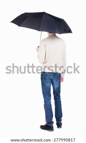 young man in in a white knit sweater under an umbrella. Rear view people collection.  backside view of person.  Isolated over white background. Girl in a short dress hiding under an umbrella - stock photo