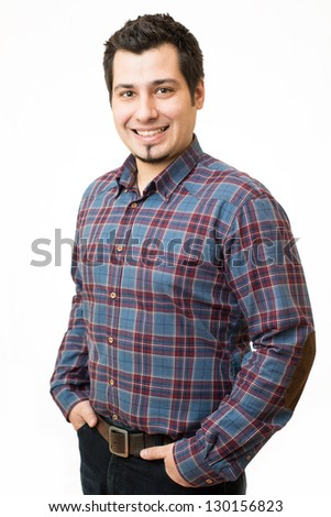 Young man in shirt smiling and looking at camera isolated on white background - stock photo