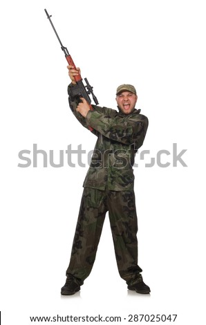 Young man in soldier uniform holding gun isolated on white - stock photo