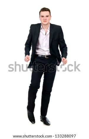 Young man in suit dancing.Isolated on white background - stock photo