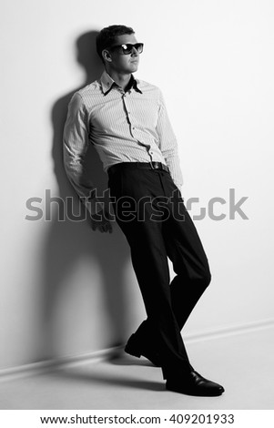 young man in sunglasses.Handsome man - stock photo