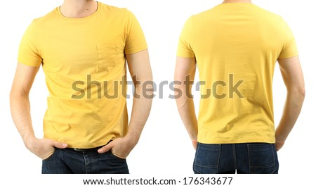 Young man in t-shirt isolated on white - stock photo