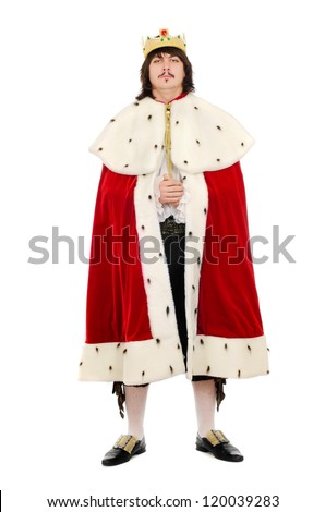 Young man in the royal costume. Isolated on white background - stock photo