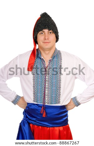 Young man in the Ukrainian national costume - stock photo