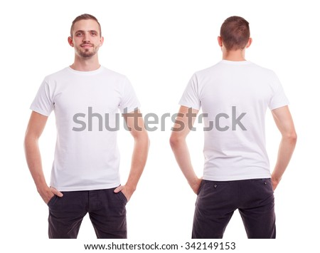 Young man in white t-shirt on white background - stock photo
