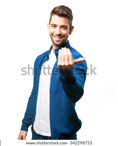 young man inviting to come - stock photo