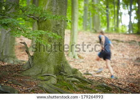 Young man is running in forest  - stock photo