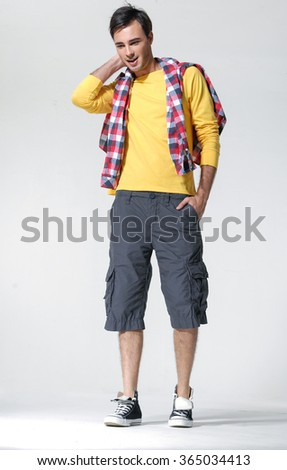 young man isolated - full body, - stock photo