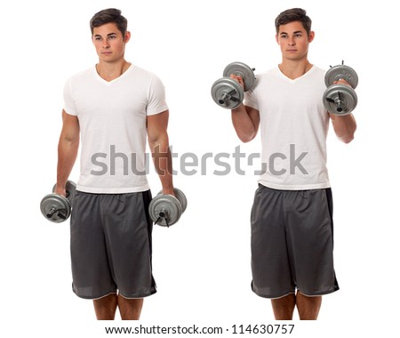 Young man lifting weights. Studio shot over white. - stock photo