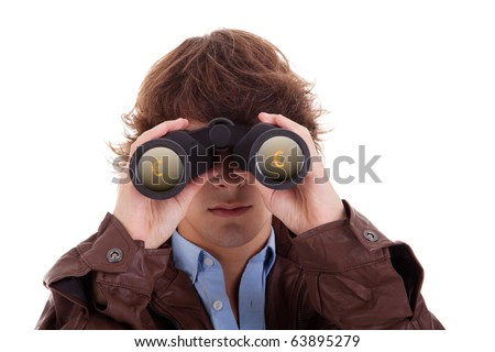 Young man looking through binoculars, with symbol of money, isolated on white, studio shot - stock photo