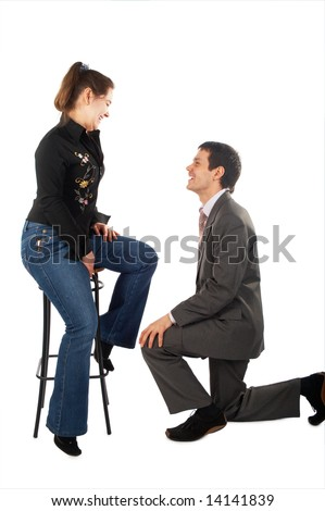 Young man makes proposal isolated on white - stock photo