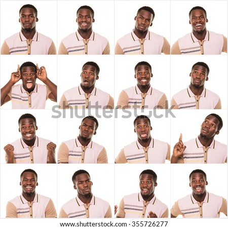 Young man making facial expression. - stock photo