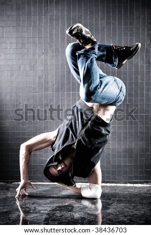 Young man modern dance. Contrast colors. - stock photo