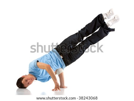 Young man modern dance. Isolated on white. - stock photo