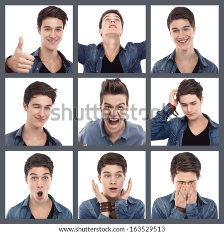 Young man multiple expression images on white - stock photo