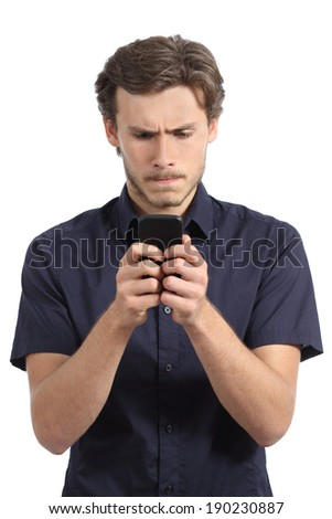 Young man obsessed with his smart phone isolated on a white background    - stock photo