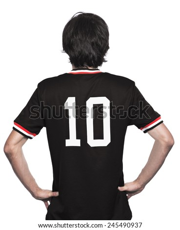 Young man of backs with black jersey on white background. - stock photo