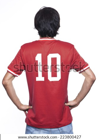 Young man of backs with red jersey on white background. - stock photo
