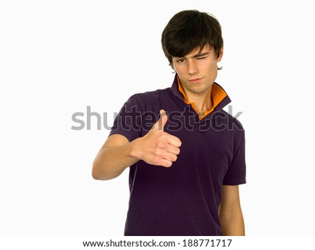 Young man OK sign. - stock photo