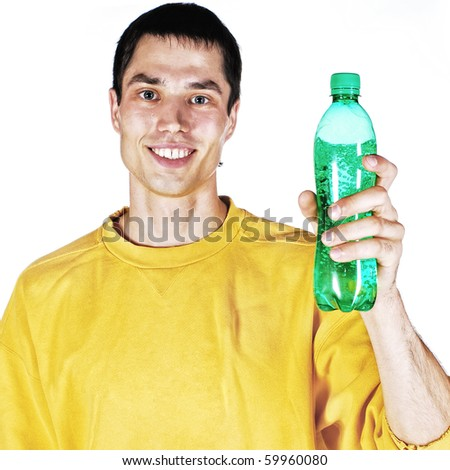 Young man on white with a water bottle. - stock photo