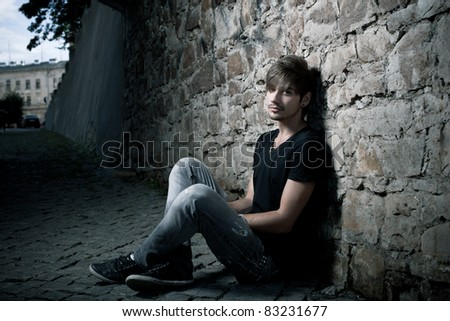 young man. outdoor portrait - stock photo
