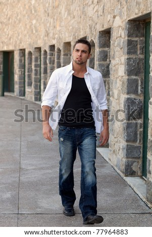 Young Man Outside - stock photo