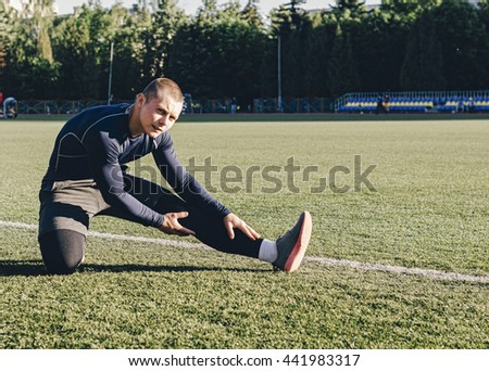 Young man player soccer get ready to game - stock photo